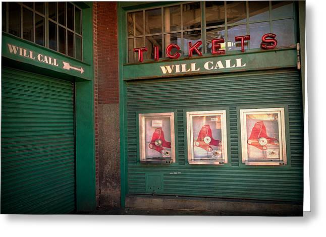 Red Sox Tickets Will Call Greeting Card by James  Meyer