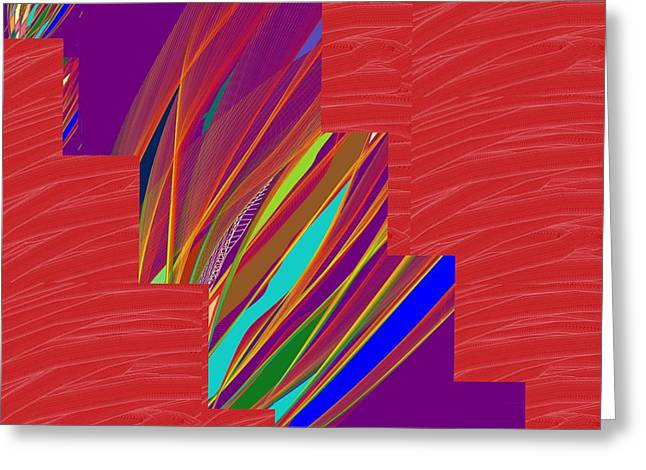 Red Sparkle And Blue Lightening Across Greeting Card by Navin Joshi