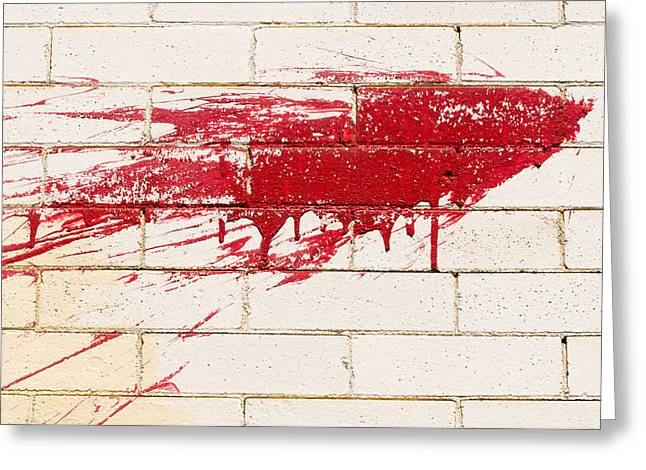 Red Splash On Brick Wall Greeting Card
