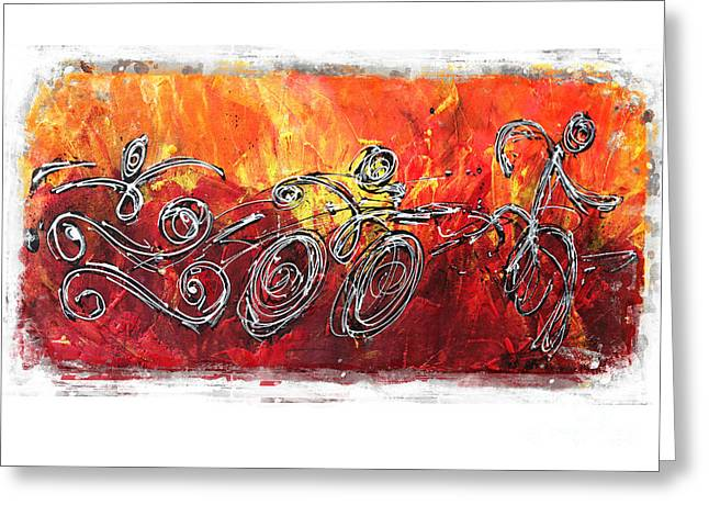 Red Splash Triathlon Greeting Card by Alejandro Maldonado