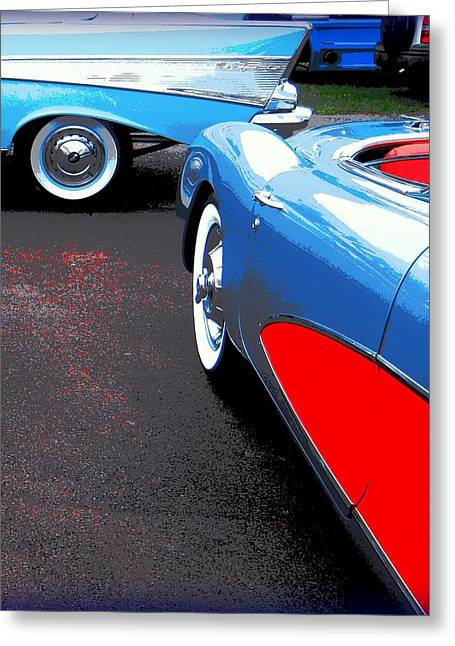 Red Splashed Asphalt With Two Chevrolets Greeting Card