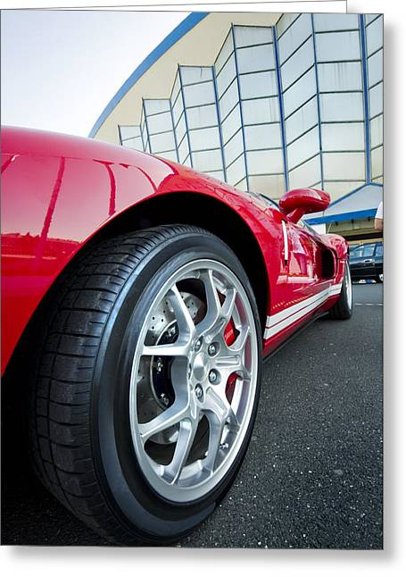 Red Sport Car Wheel  Greeting Card by Ioan Panaite