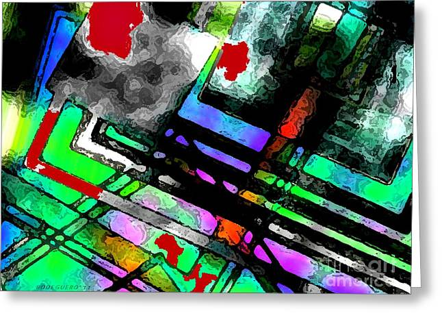 Lines And Colors On Black Art  Greeting Card by Mario Perez