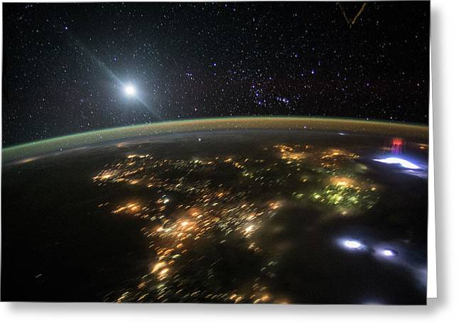 Red Sprite Over Mexico Greeting Card by Nasa