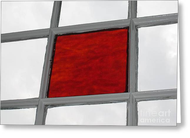 Red Square Greeting Card by Thomas Carroll