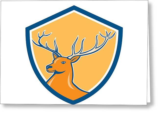 Red Stag Deer Head Shield Cartoon Greeting Card