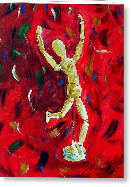 Red Stance Greeting Card by Cynthia Hudson