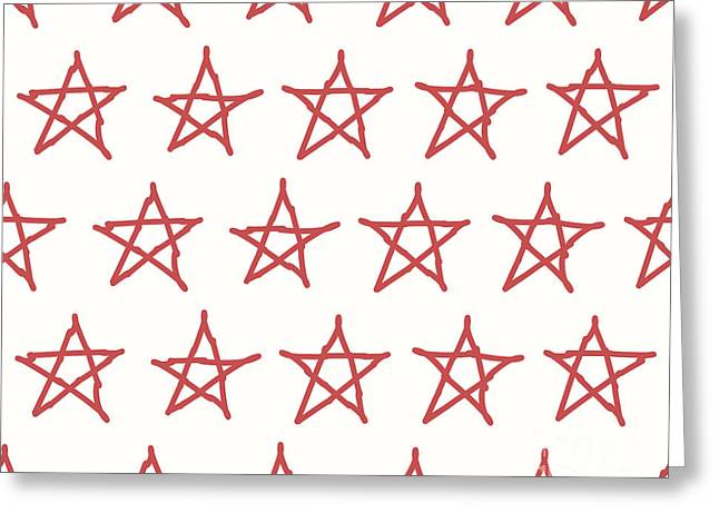 Red Stars Vector Textile Backdrop. Can Greeting Card