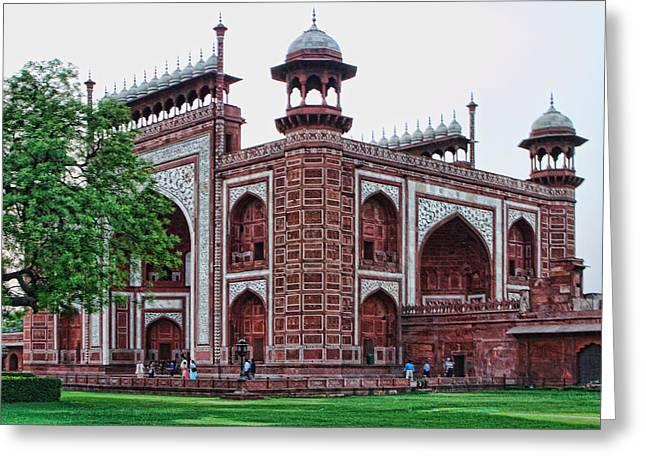 Red Stone Masque At Taj Mahal Greeting Card