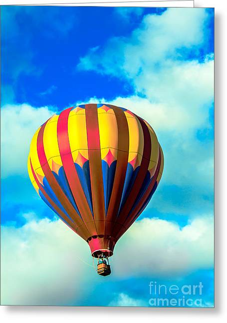 Red Striped Hot Air Balloon Greeting Card by Robert Bales