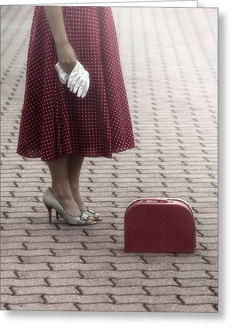 Red Suitcase Greeting Card by Joana Kruse