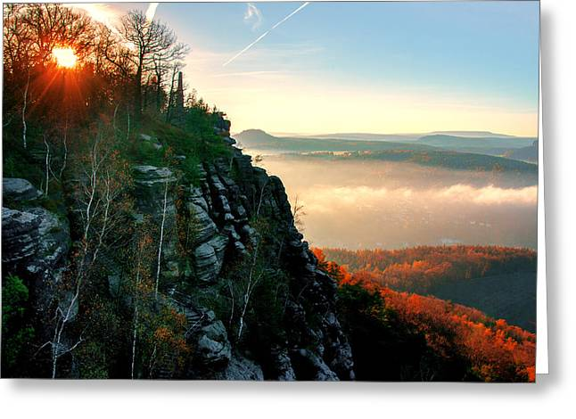 Red Sun Rays On The Lilienstein Greeting Card
