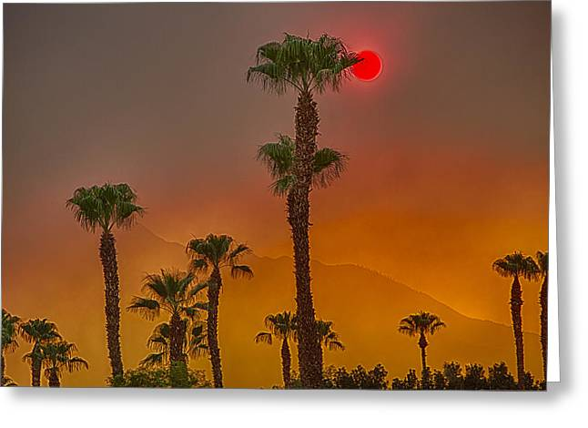 Red Sun Wild Fire Hdr Greeting Card by Scott Campbell