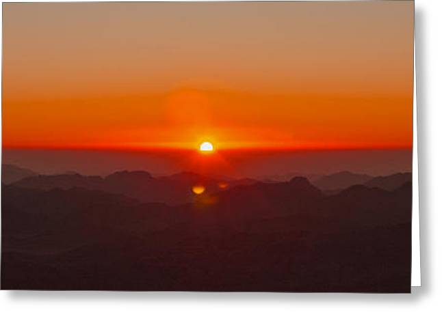 Greeting Card featuring the pyrography Red Sunrise In Sinai Montains by Julis Simo