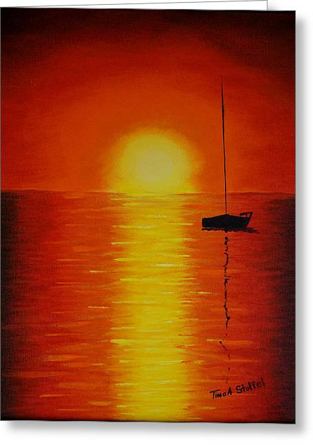 Red Sunset 1 Greeting Card by Tina Stoffel