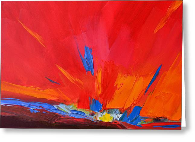 Red Sunset, Modern Abstract Art Greeting Card