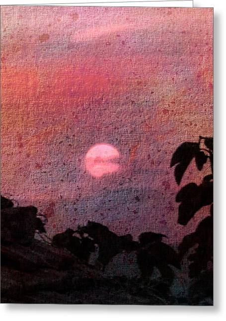 Red Sunset Greeting Card by Dorothy Berry-Lound