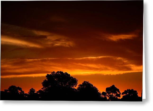 Red Sunset Greeting Card by Mark Blauhoefer