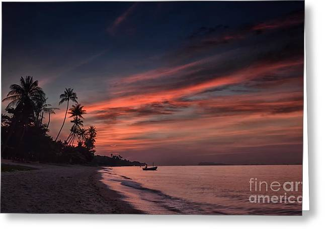 Red Sunset Greeting Card by Michelle Meenawong