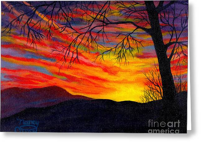 Greeting Card featuring the painting Red Sunset by Nancy Cupp