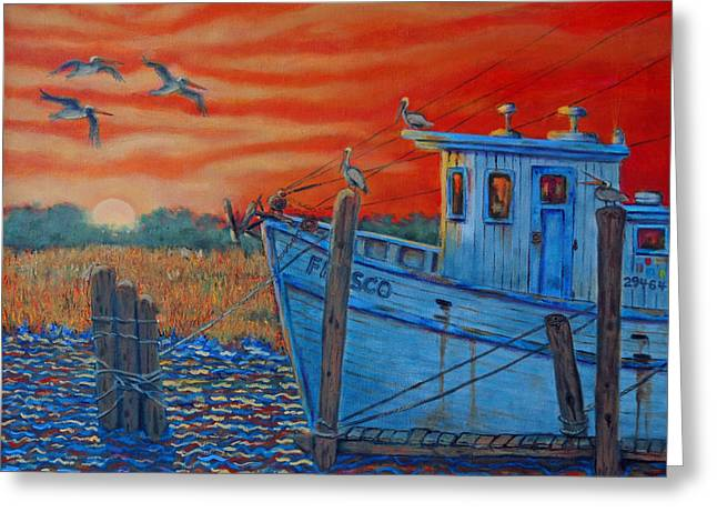 Red Sunset On Shem Creek Greeting Card by Dwain Ray