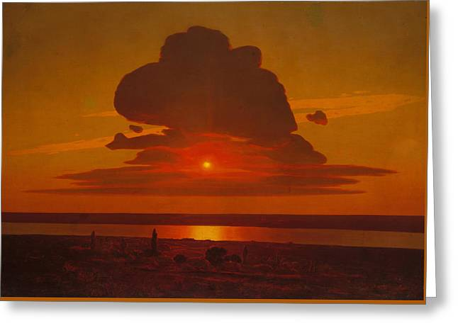 Red Sunset On The Dnieper Greeting Card