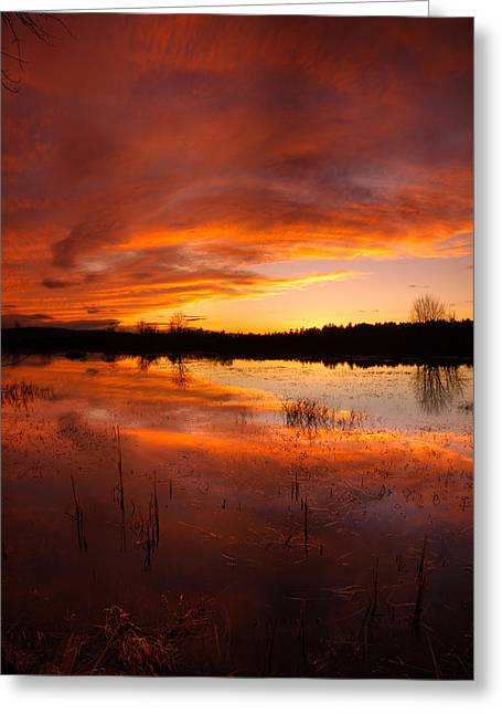 Red Sunset Over Massabesic Lake Greeting Card