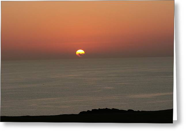 Red Sunset Over Sea Greeting Card by Gordon Auld