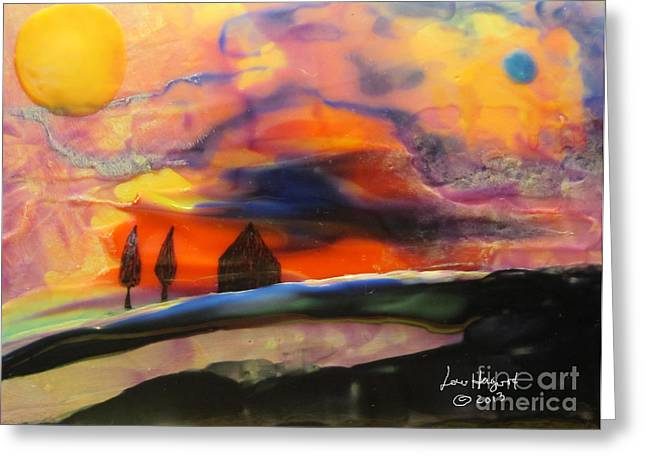 Red Sunset With Building Greeting Card