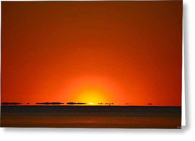 Greeting Card featuring the photograph Red Sunset With Superior Mirage On Santa Rosa Sound by Jeff at JSJ Photography