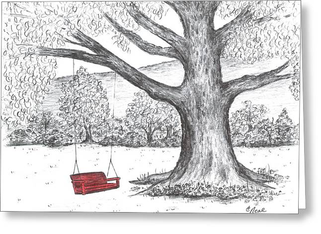 Red Swing Greeting Card