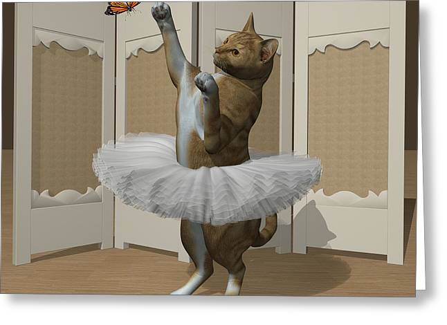 Red Tabby Ballet Cat On Paw-te Greeting Card by Andre Price