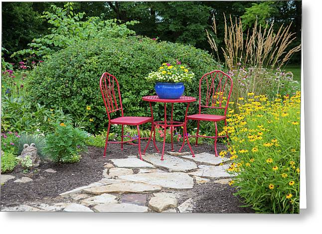Red Table & Chairs With Blue Pot Greeting Card