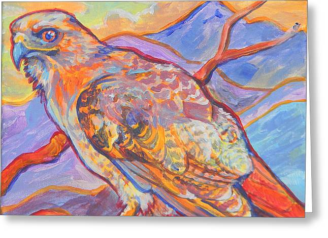 Red Tail Visit Greeting Card by Jenn Cunningham