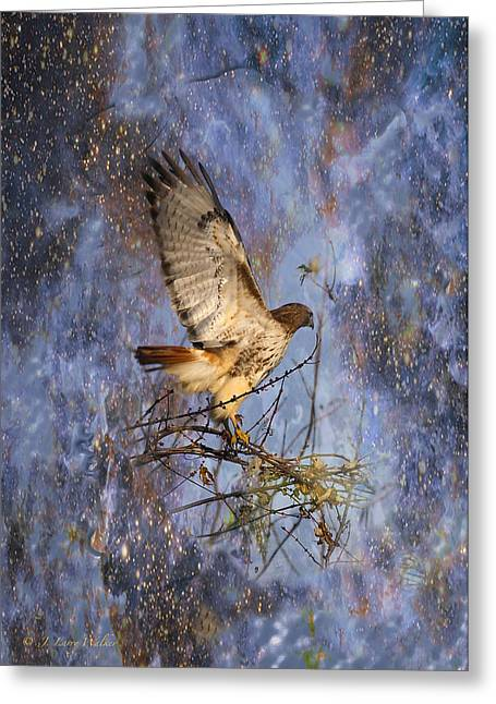 Greeting Card featuring the digital art Red-tailed Hawk Applauding The Early Morning Sunrise by J Larry Walker
