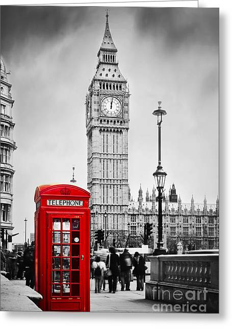 Red Telephone Booth And Big Ben In London Greeting Card