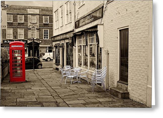 Greeting Card featuring the digital art Red Telephone Box by Paul Gulliver