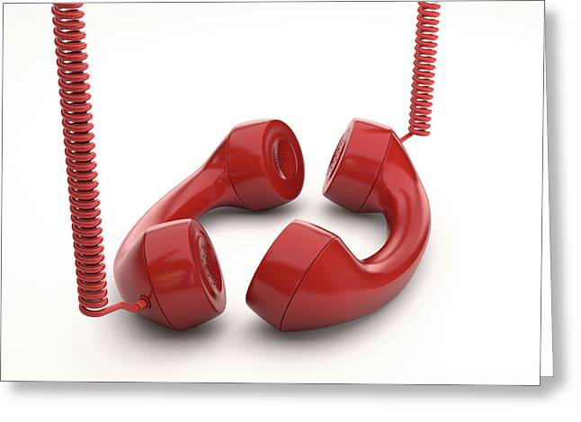 Red Telephone Handsets Greeting Card by Ktsdesign