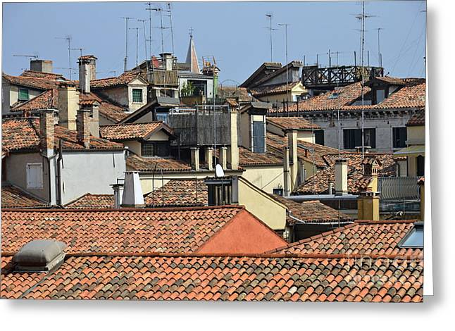 Red Tiled Roofs From Doges Palace Greeting Card by Sami Sarkis