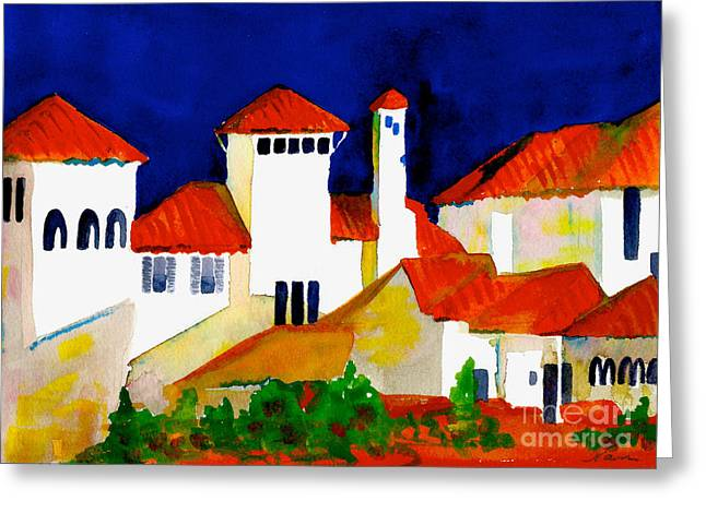Red Tiles And Blue Skies Greeting Card
