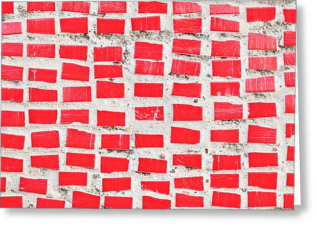Red Tiles Greeting Card by Tom Gowanlock