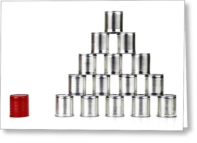 Red Tin Can Beside A Pyramid Greeting Card