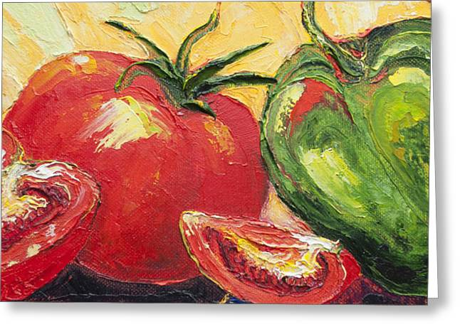 Red Tomato And Green Pepper Greeting Card by Paris Wyatt Llanso