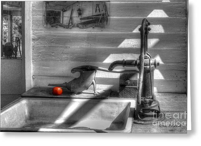 Red Tomato By Sink Greeting Card by Dan Friend