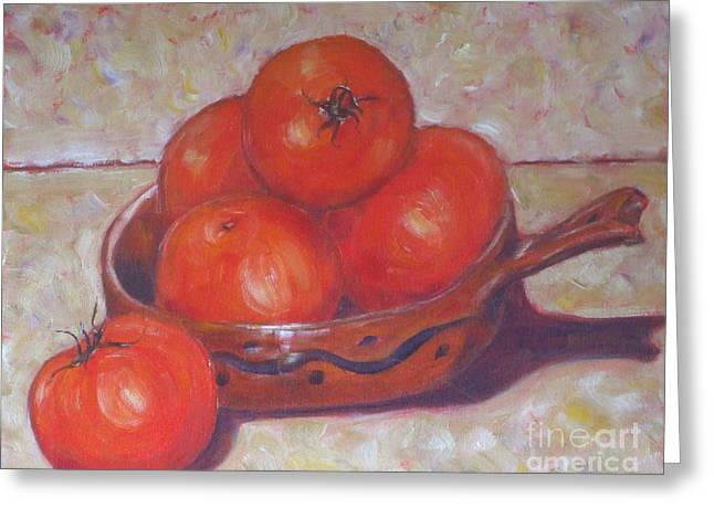 Red Tomatoes In A Dish Greeting Card by Paris Wyatt Llanso