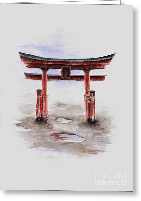 Red Torii Japanese Temple Gate. Greeting Card