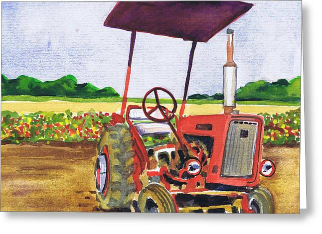 Greeting Card featuring the painting Red Tractor At Rottcamp's Farm by Susan Herbst