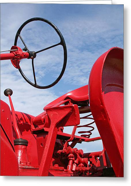 Red Tractor Greeting Card by Heather Allen