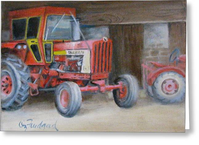 Greeting Card featuring the painting Red Tractor by Oz Freedgood