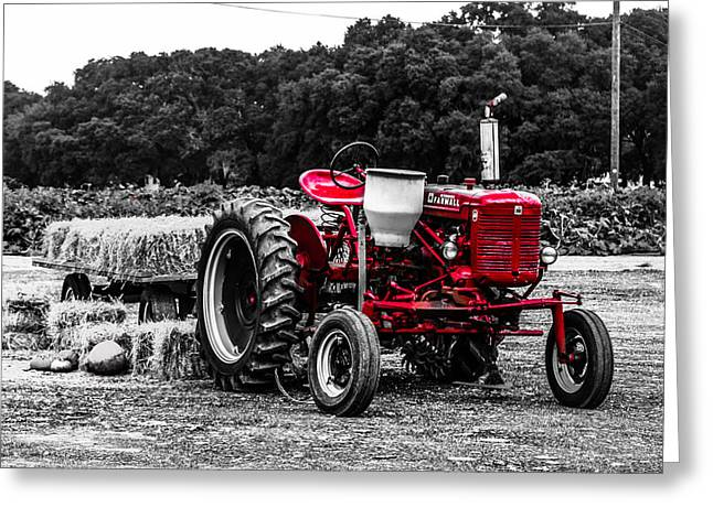 Red Tractor Greeting Card by Steven  Taylor
